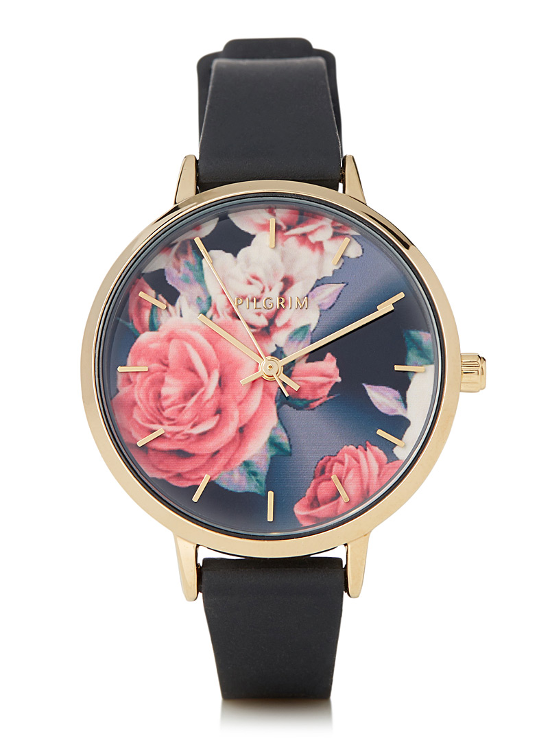 Pilgrim Patterned Black Clare romantic roses watch for women