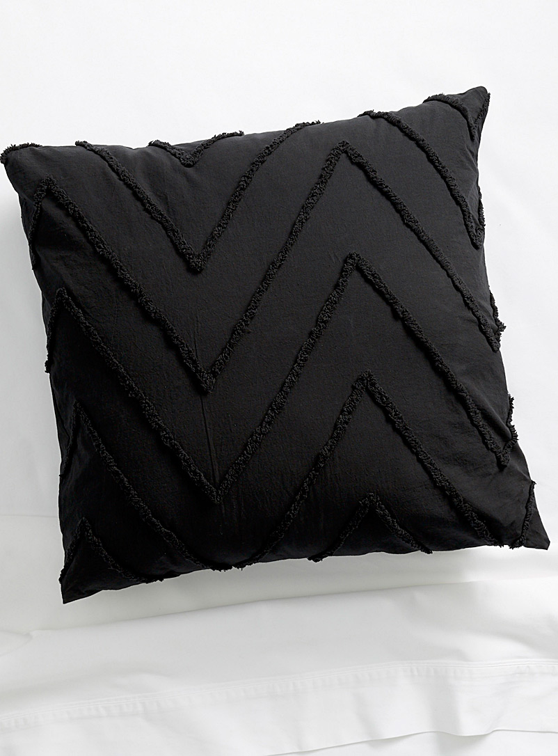 "Chenille herringbone Euro square cushion  26""e; x 26""e; - Cushions - Black"