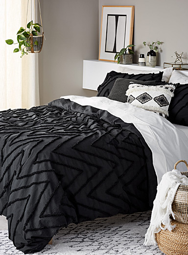 Chenille chevron duvet cover set