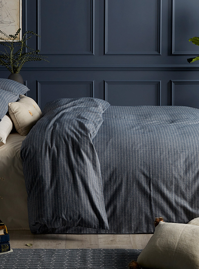 Chambray flannel duvet cover set - Duvet Covers - Blue