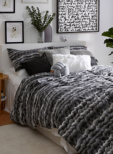 Cozy knit photoprint duvet cover set