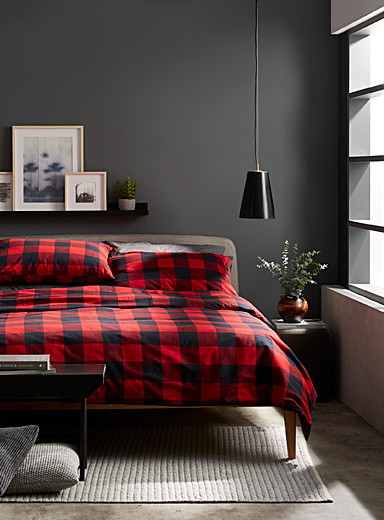 Buffalo check flannel duvet cover set