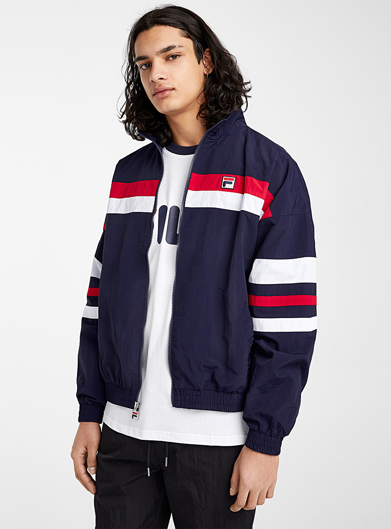 Fila Patterned Blue Striped band coach jacket for men