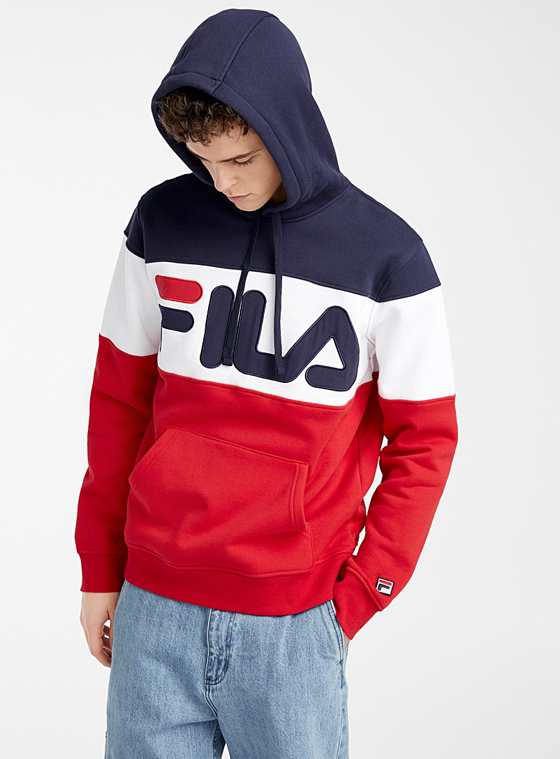 Fila Marine Blue Tricolour block hoodie for men