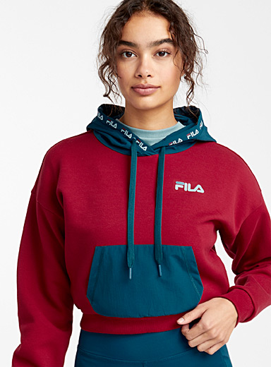 Cropped two-tone hoodie