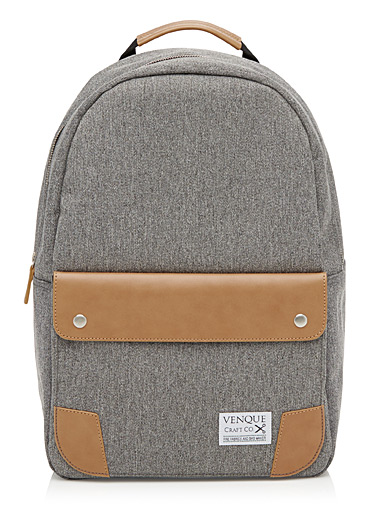 Classic leather-accent backpack