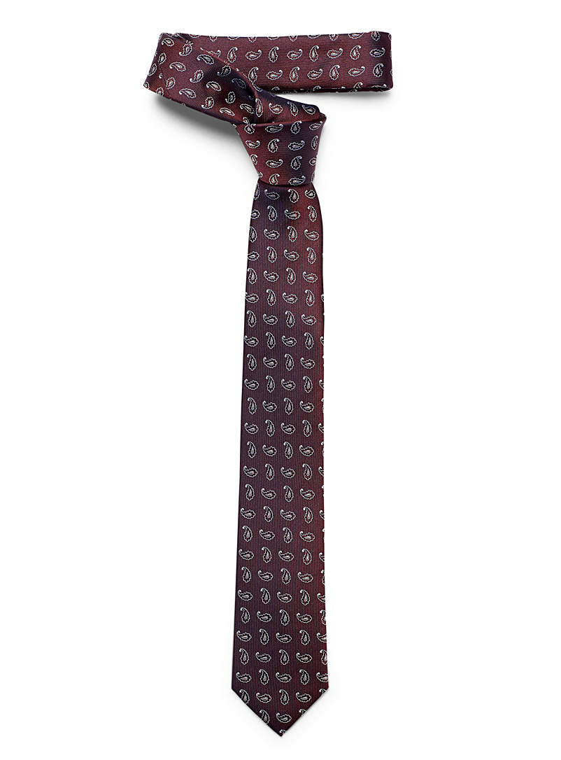 Le 31 Ruby Red Geo paisley tie for men