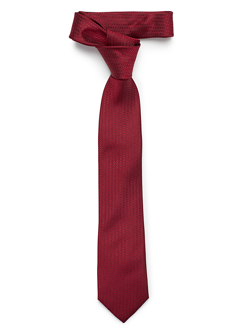 Le 31 Ruby Red Shiny zigzag tie for men