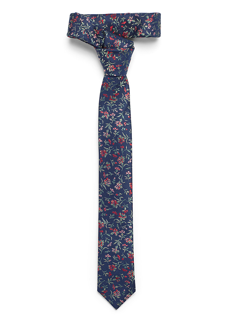 Le 31 Marine Blue Secret garden tie for men