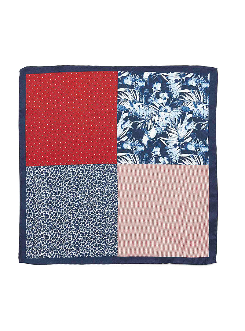 Le 31 Patterned Blue 4-in-1 tropical pocket square for men