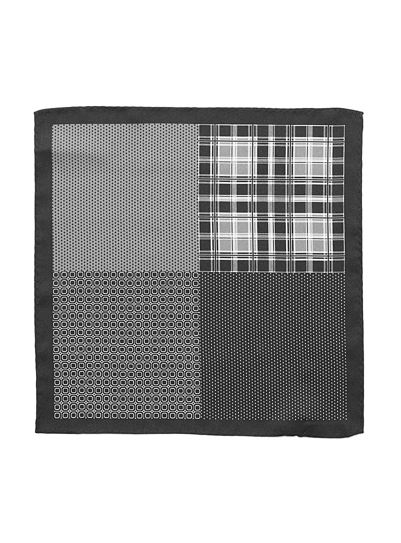 Le 31 Brown 4-in-1 graphic pocket square for men