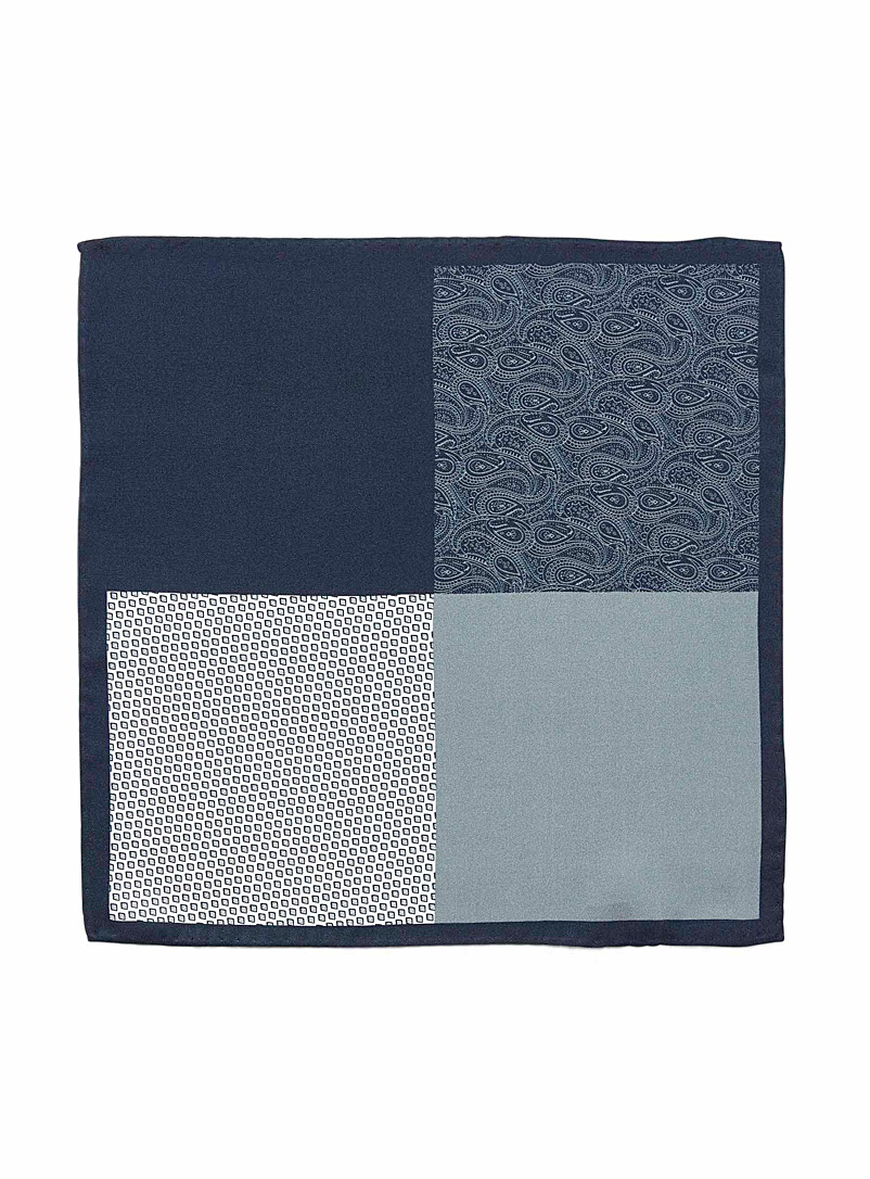 4-in-1 indigo pocket square - Pocket Squares & Scarves - Black