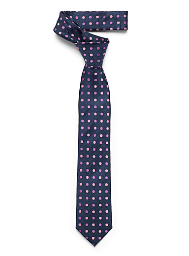 Le 31 Marine Blue Two-tone dot tie for men