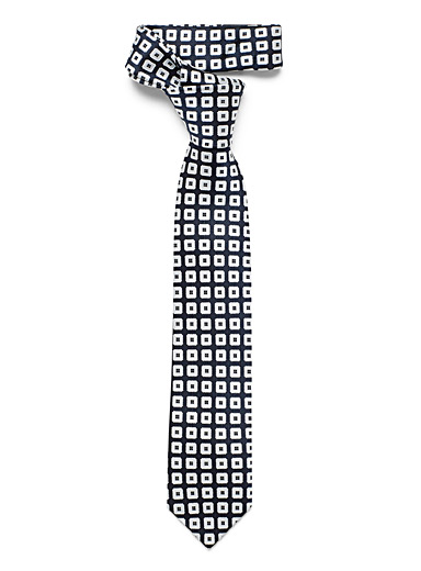 Le 31 Black Modern check tie for men