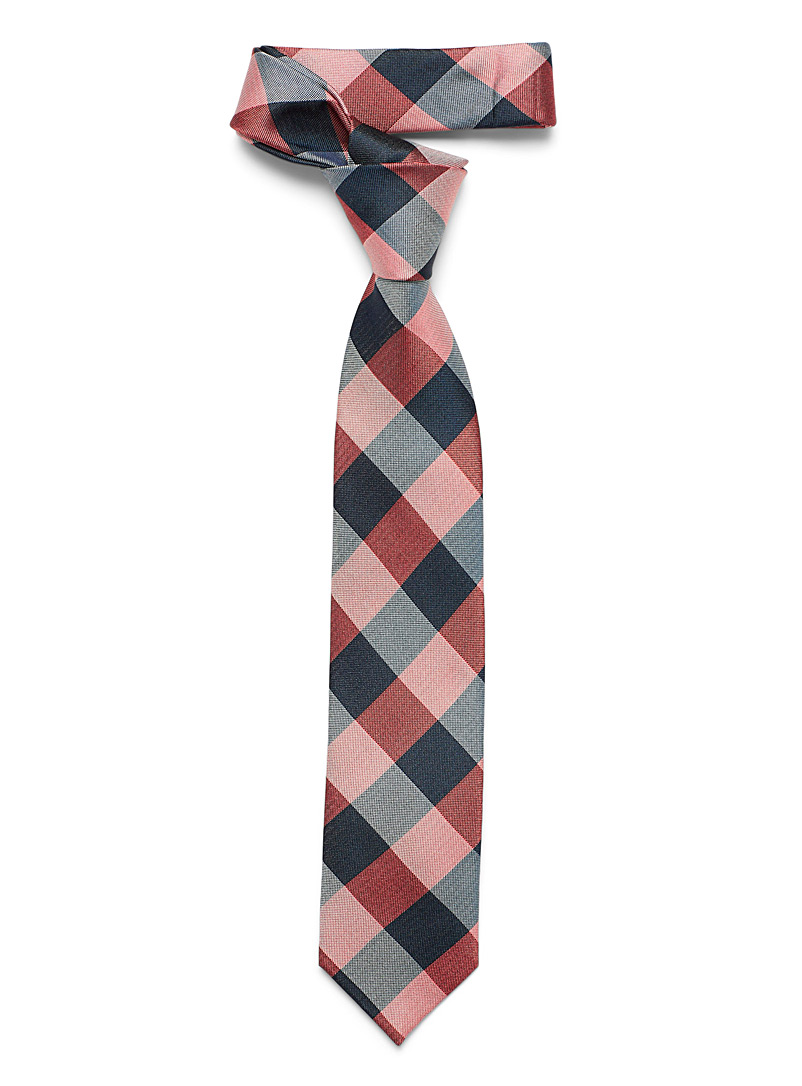 Le 31 Ruby Red Blue check tie for men