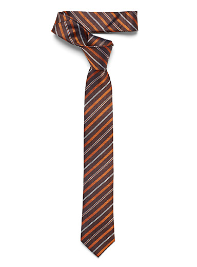 Le 31 Brown Retro stripe tie for men