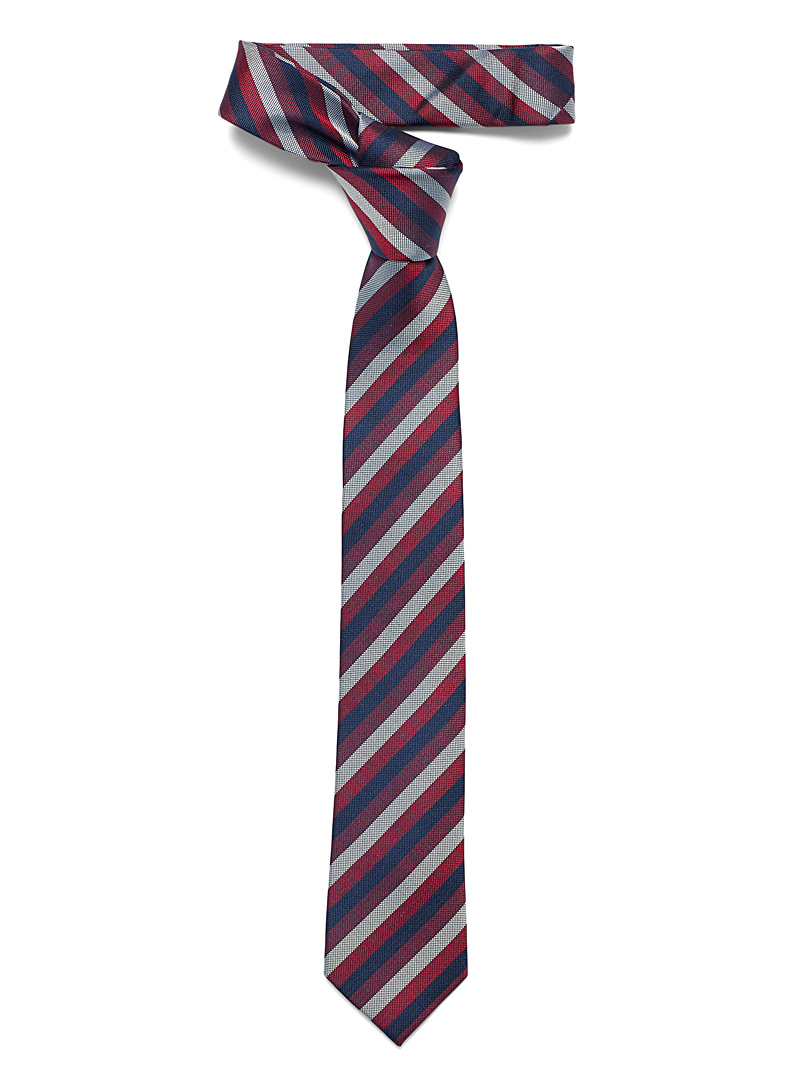 Le 31 Ruby Red Navy accent striped tie for men