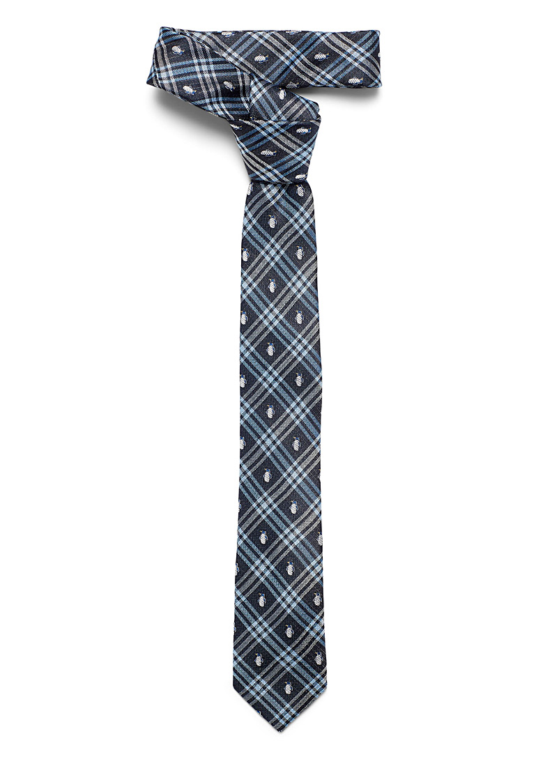 Le 31 Medium Brown Penguin tartan tie for men