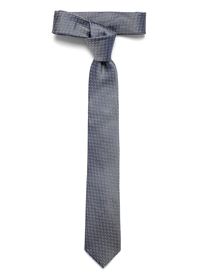 Le 31 Grey Abstract herringbone tie for men
