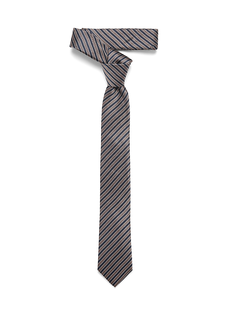Le 31 Light Brown Navy stripe tie for men