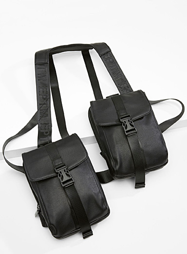 EPTM Black Utility harness bag for men