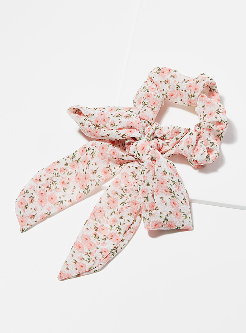 Sheer bow pink scrunchie