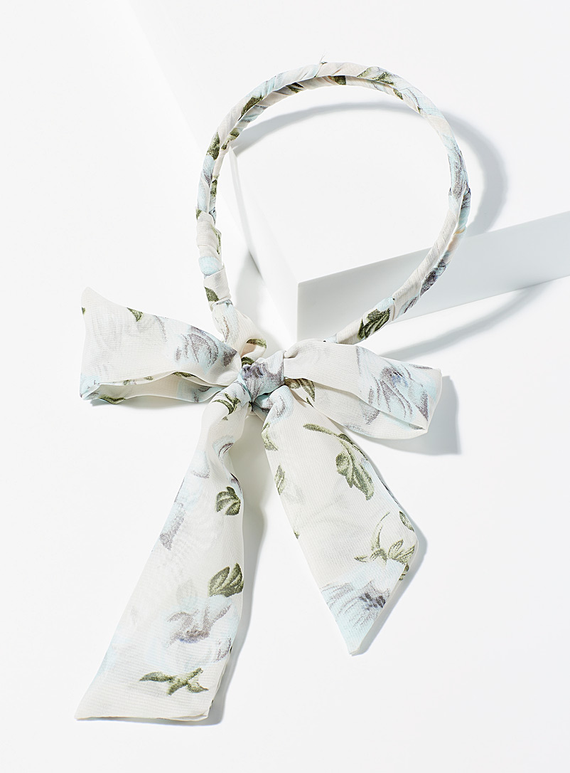 Simons Patterned White Soft romance headband for women