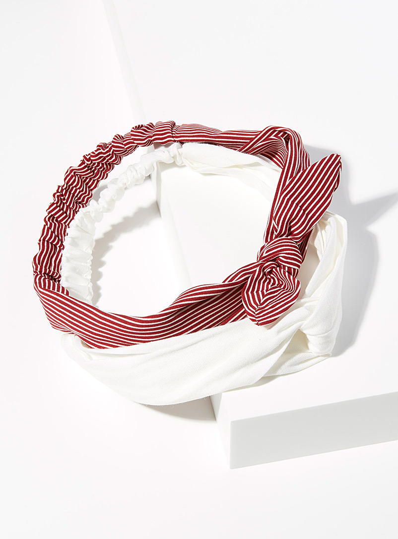 Simons Assorted red Solid and striped headbands  Set of 2 for women