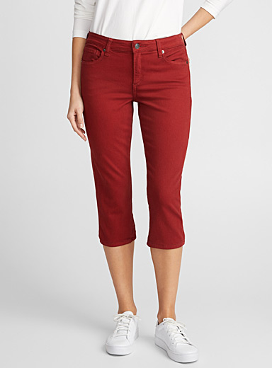 Coloured denim capris