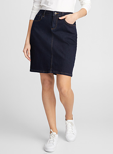 Indigo straight jean skirt