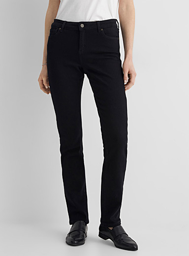 Black stretch straight jean