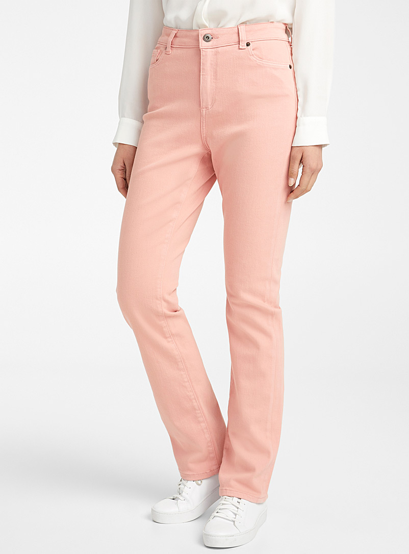 Contemporaine Dusky Pink Coloured straight stretch jean for women