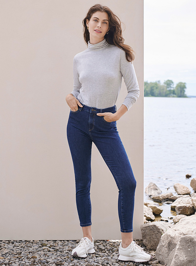 Contemporaine Dark Blue Fitted stretchy ankle jean for women