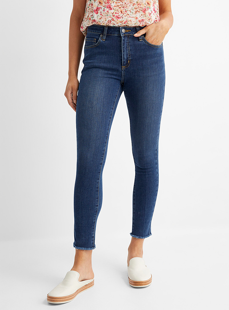 Contemporaine Blue Frayed ankle skinny jean for women