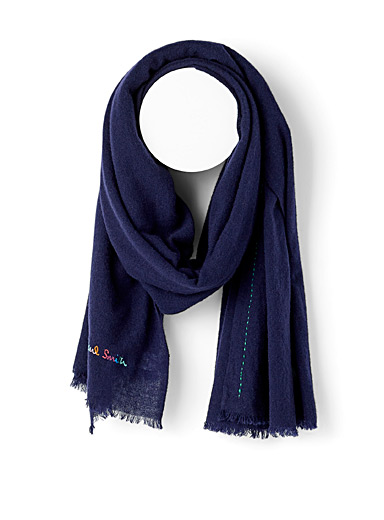 Paul Smith Marine Blue Embroidered-trim scarf for men