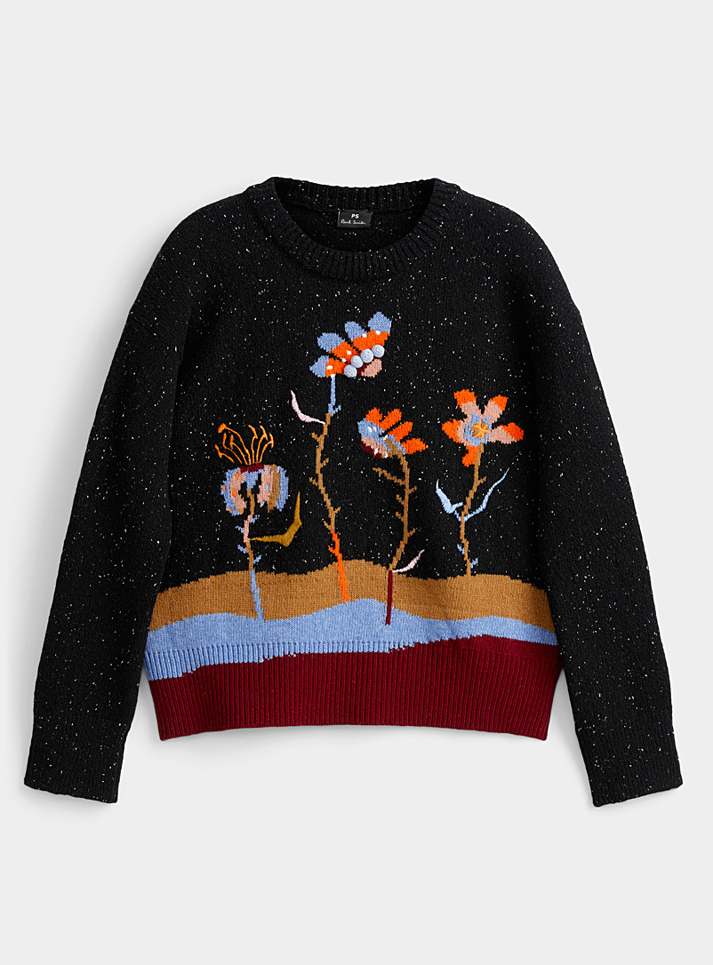 PS Paul Smith Patterned Black Bright floral sweater for women