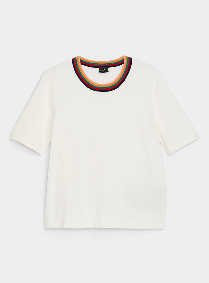 PS Paul Smith Cream Beige Rainbow collar short-sleeve sweater for women
