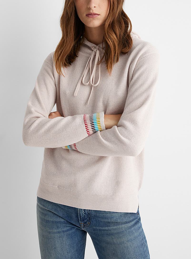 PS Paul Smith Ivory White Colourful edges knit hooded sweatshirt for women