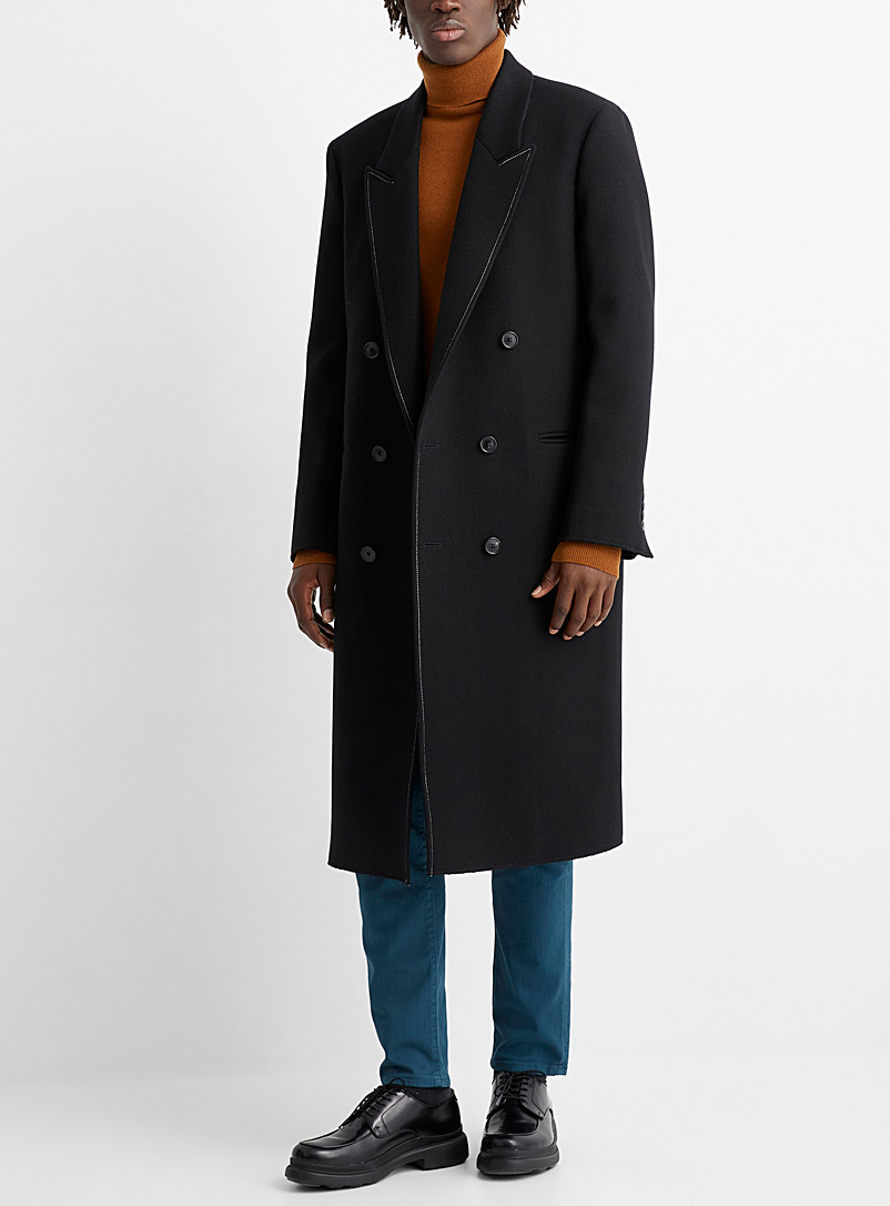 Paul Smith Black Long topstitch-accent coat for men
