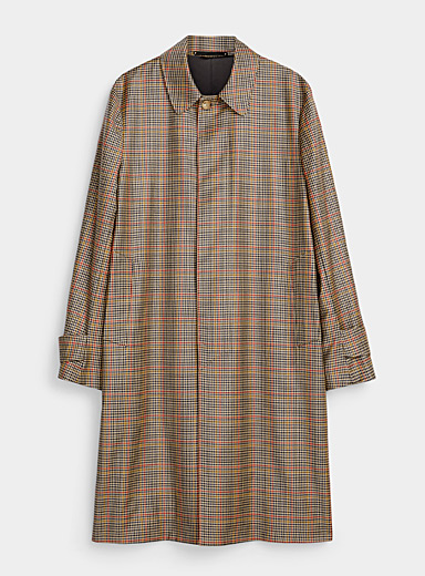 Paul Smith Cream Beige Houndstooth trench for men