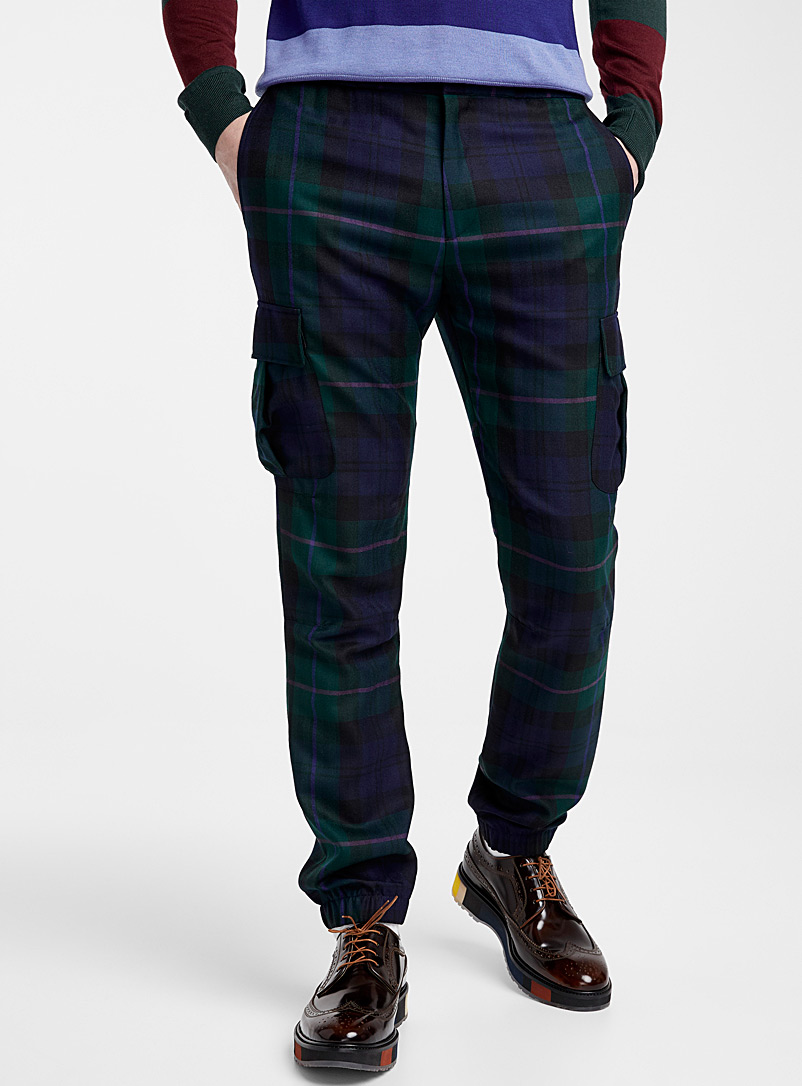 Paul Smith Patterned Blue Tartan cargo pant for men