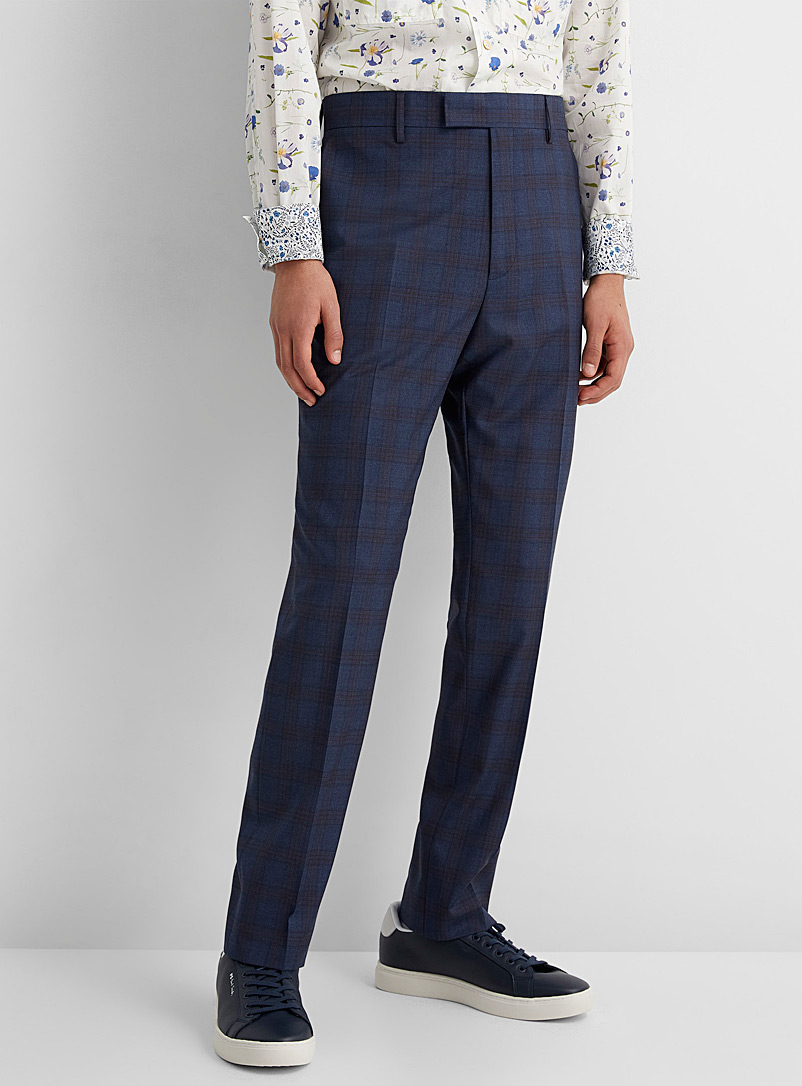 Paul Smith Marine Blue Prince of Wales slim pant for men