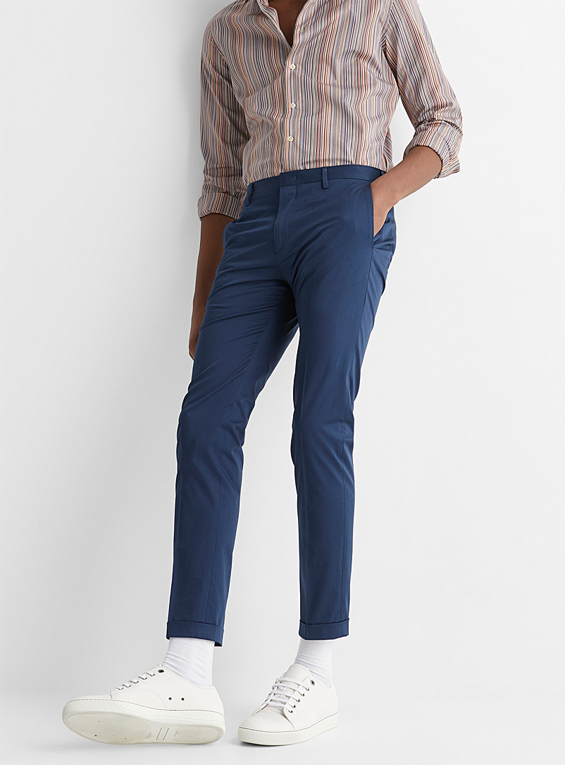 Paul Smith Marine Blue Fitted organic cotton pant for men