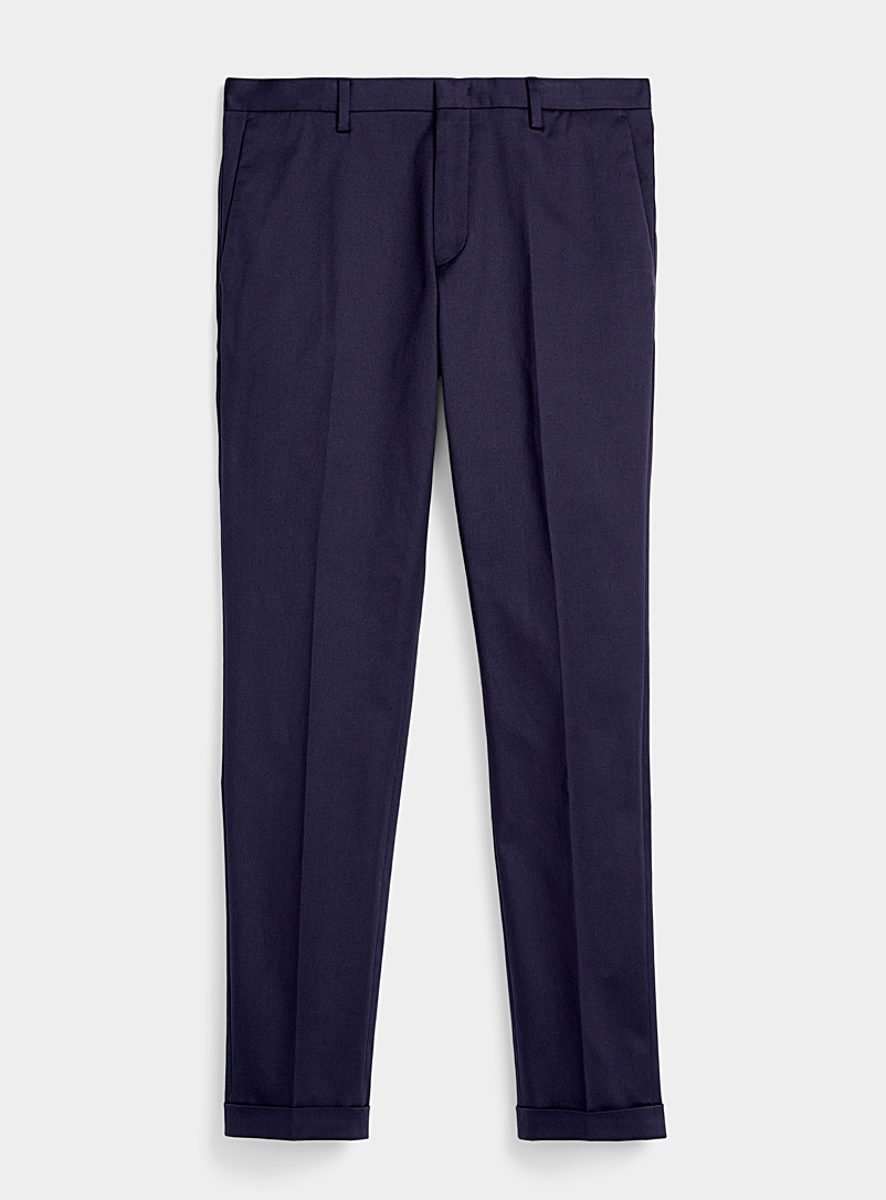 Paul Smith Marine Blue Cuffed chinos for men