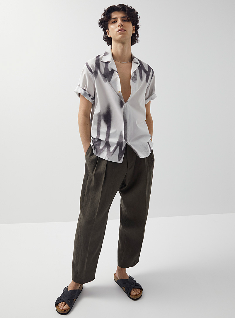 Paul Smith Khaki Pleated khaki linen pant for men