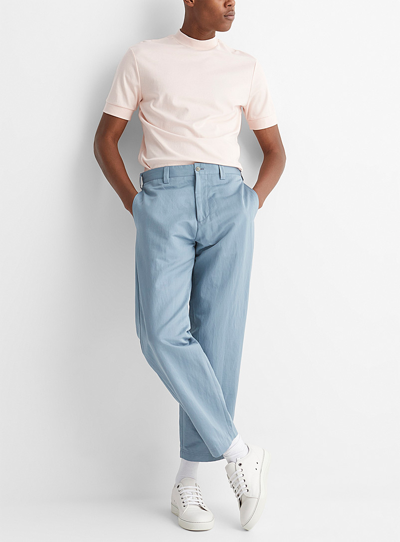 Paul Smith Green Glacier blue cotton and ramie pant for men