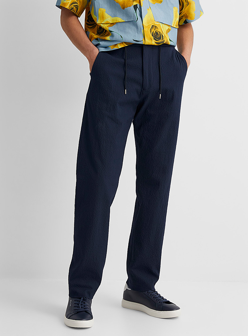 Paul Smith Marine Blue Seersucker navy pant for men