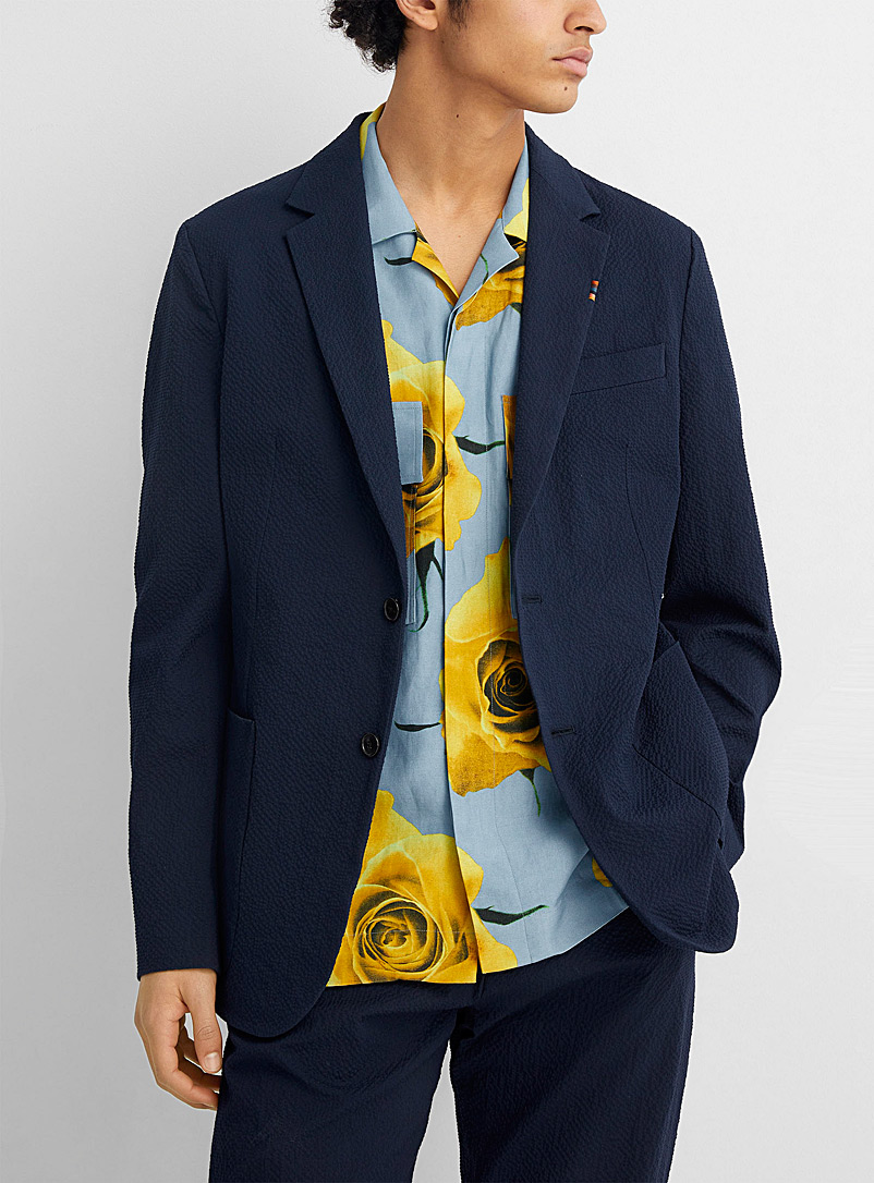 Paul Smith Marine Blue Navy seersucker jacket for men