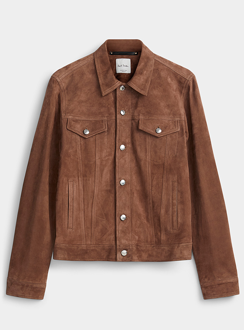 Paul Smith Light Brown Suede-like leather jacket for men