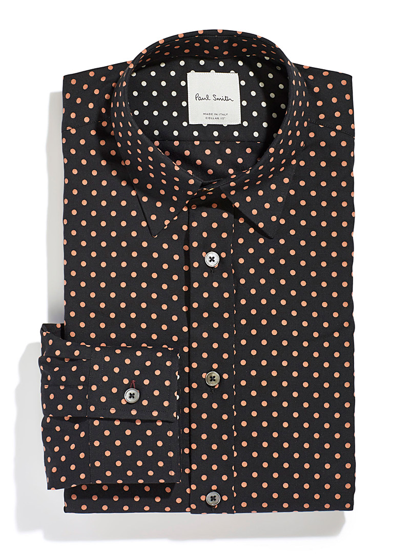 Paul Smith Patterned Blue Peach dot shirt for men